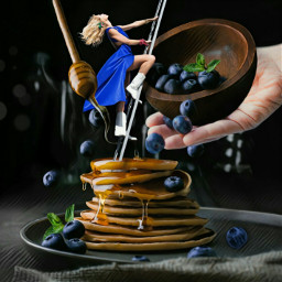 freetoedit bountifulberries blueberries pancakes stacked honey dripping yummy food woman carefree boots climbing ladder hand bowl imagination myimagination stayinspired create creativity madewithpicsart