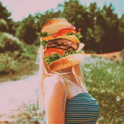 mysubmission food head retro effects girl burger follow like freetoedit
