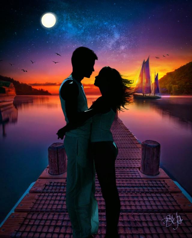 #photoremix, #sihouette , #love, #dusk, #dock #fullmoon,  #fxeffect , #fxtools