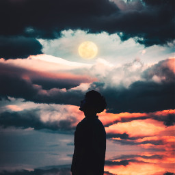 picsart freetoedit remixit sunset sunrise sun clouds glow sky stars night moody dark light color background view png silhouette nighttime