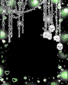 green greenaeathetic chains skull skullface greenoverlay edgy shiny emo goth