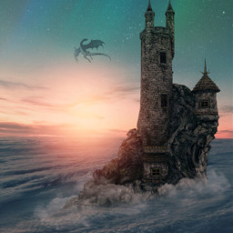 fantasy castle sunset dragon myedit madewithpicsart picsarteffects freetoedit