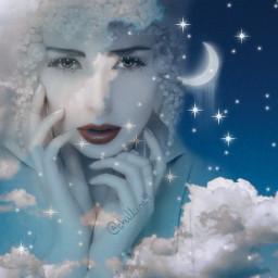 freetoedit moon stars girl arte artdigital mujerbonita nubes caras @chuliluna19