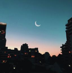 freetoedit sky sunset moon cielo