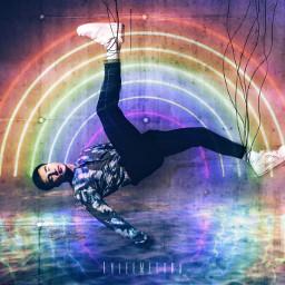 rainbow colorful man falling strings water reflection edit wall selfmade picsart picsartpicks