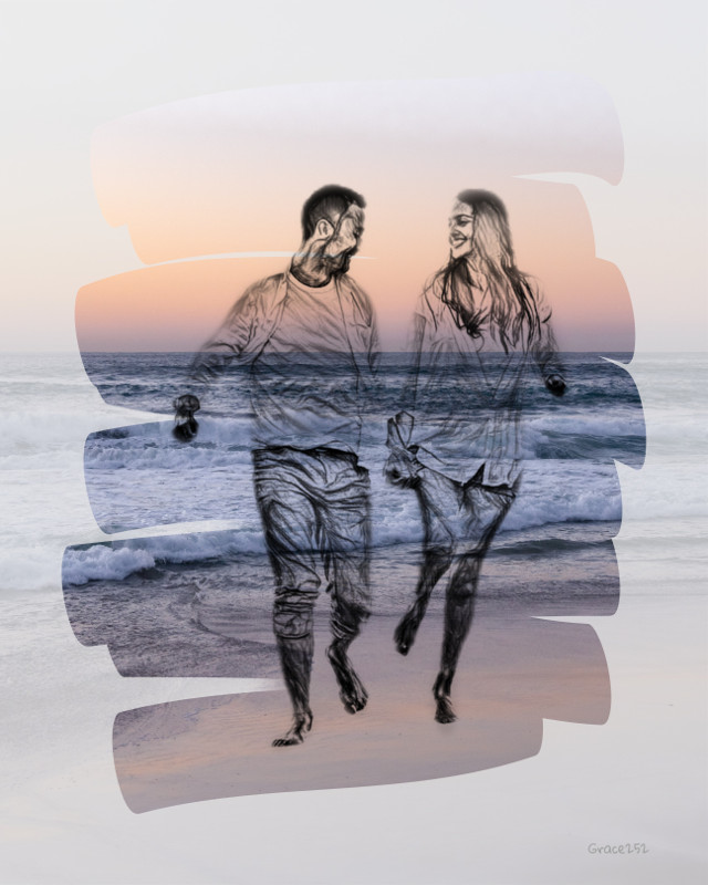 #couple #framed #sea #sketch #waves Op @freetoedit