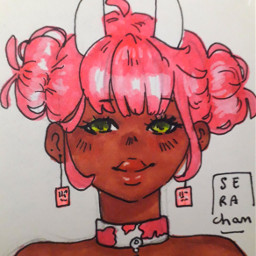 drawing penart pendrawing girl freetoedit cute pink taurus zodiacs zodiacsigns cow cowgirl