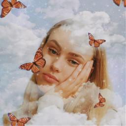 aesthetic vintage aestheticvintage girl woman beautiful clouds butterflies butterflyaesthetic stars glam galaxy overlay adjust filters mask opacity edit picsart freetoedit