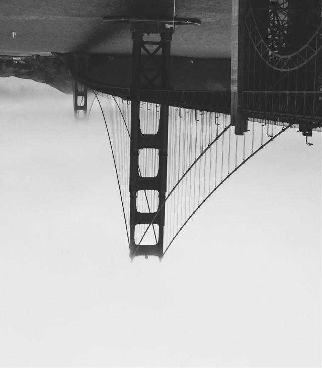 A picture I took in sanfransisco upside down... looks very interesting. #sanfrancisco #goldengatebridge #goldengate #sanfran #foggyday #foggy #fog #bmw #blackandwhite