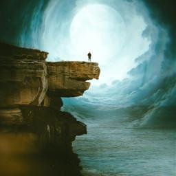 moon cliff freetoedit unsplash