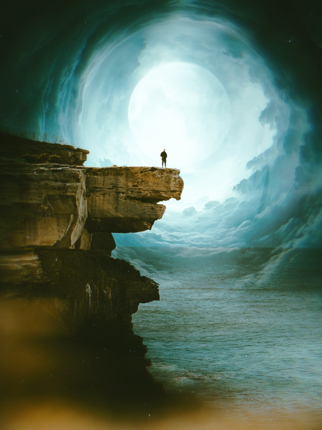 #moon #cliff