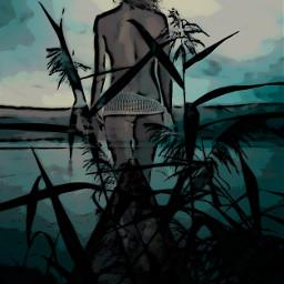 girl walking bluehour grasses freetoedit