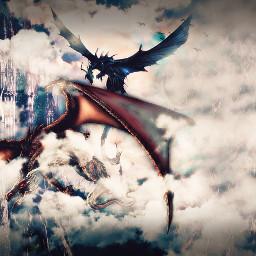freetoedit dragon interesting art sky battle flying wings fantasy midevil awsome night nature party