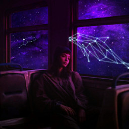 galaxy papicks picsart girl girls cute aesthetic purple star stars freetoedit