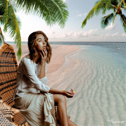 summer vacation rest beach ocean sea girl beautifulartvisuals propixz freetoedit remixit remixed