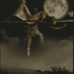 lady lonely moon dark night woman sky freetoedit