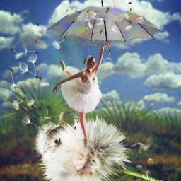 girl ballerina dandelion sky clouds landscape umbrella freetoedit