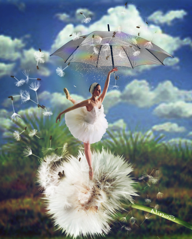 #girl#ballerina#dandelion#sky#clouds# #landscape#umbrella#