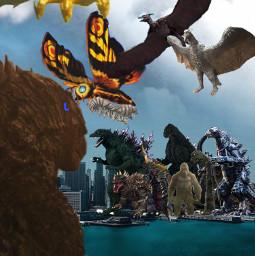 godzilla face time the titans and kingkong sirenhead freetoedit