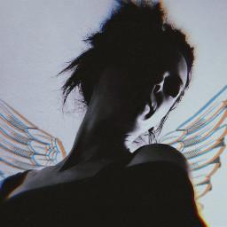 freetoedit girl glitch wings remixit
