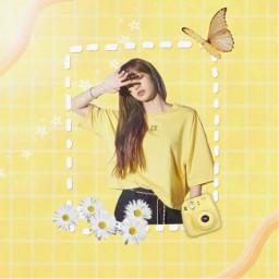 jungkooks_trash_can lalisa lalisamanoban lisa blackpink kpop edit yellow cute butterfly polaroid camera flowers stars aesthetic happy notfreetoedit freetoedit