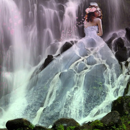 fantasy waterfall weddingdress freetoedit
