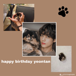 happy birthday yeontan happybirthday happybirthdayyeontan tae taehyung bts btstaehyung taetae v vbts brown woof dog cute cinnamon heart yeontanbts kpop korean paw pawprint tiny