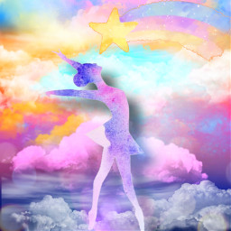 fantasyart makebelieve woman dancer dancing ballerina sky clouds dreamy surreal surrealistic stickerart lensflare bokehbrush colorful colorlove pastelcolors aestheticedit artistic myimagination becreative heypicsart myedit madewithpicsart freetoedit