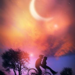 nightsky sunset moonlight boys children bestfriends bffs silhouette endofsummer autumn fallcolors stickers dodgereffect motionblur heypicsart makeawesome myedit madewithpicsart freetoedit