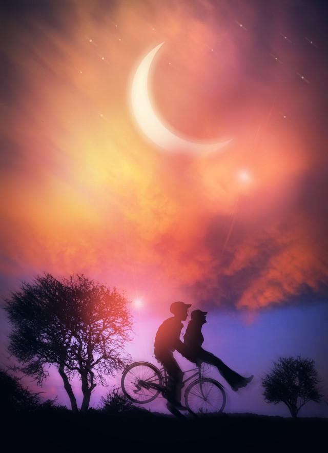 #nightsky #sunset #moonlight #boys #children #bestfriends #bffs #silhouette #endofsummer #autumn #fallcolors #stickers #dodgereffect #motionblur #heypicsart #makeawesome #myedit #madewithpicsart
