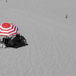 beach umbrella red redandwhite stripes sand colorsplash