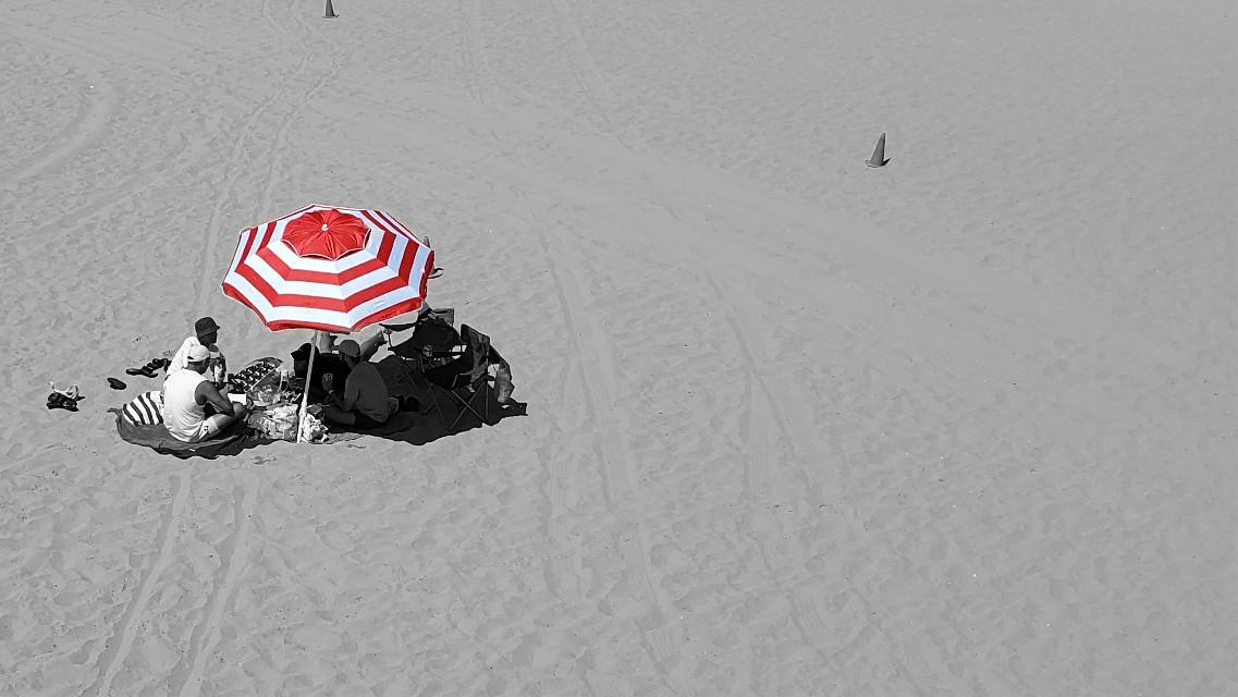 Social Distace #beach #umbrella #red #redandwhite #stripes #sand #colorsplash