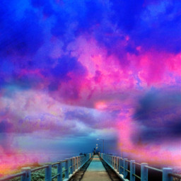 freetoedit fantasyart fantasyworld fantasybackground background backgrounds backdrop bridge pier nightsky clouds dreamy surreal surrealistic heypicsart myedit madewithpicsart