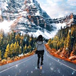 winter snow snowflakes road walkingalone freetoedit