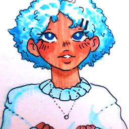 drawing penart pendrawing girl freetoedit cute zodiacs zodiacsign piscesbaby piscesgirl pisces blue cinnamonroll