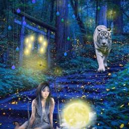 freetoedit night nature asiangirl tree tiger firefly planet stairs blue yellow surrealism lights