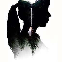 freetoedit heypicsart picsart myedit doubleexposure girl silhouette araceliss makeawesome forest