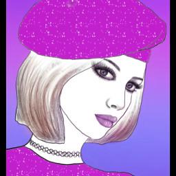 portraitart madewithpicsart background drawtools pink beautiful woman myart myedit freetoedit colorpaint