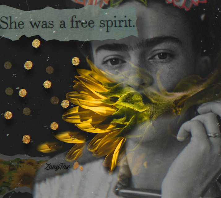 A piece of tidbit info....▪️🖤▪️In her cultural persona, #Frida extended the history of #Mexico into her #art, thus building a patrimony of cultural ideals, artistic techniques, and social values that are today important for her country and the art she created. #FridaKahlo was born in 1907, three years before the Mexican revolution exploded.🌻✨#myart #collage #la_reina #edited using @jcervay beautiful #gold #sunflower #photograph. ▪️🖤▪️ Have a great day and please stay safe. 🌻✨