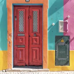 freetoedit urbanexploration house frontwall door doorway woodendoor reddoor colorsofthecity boldcolor brightcolors sunnylightandshadows stonesidewallk naturalstones colorfulworld urbanexploringphotography