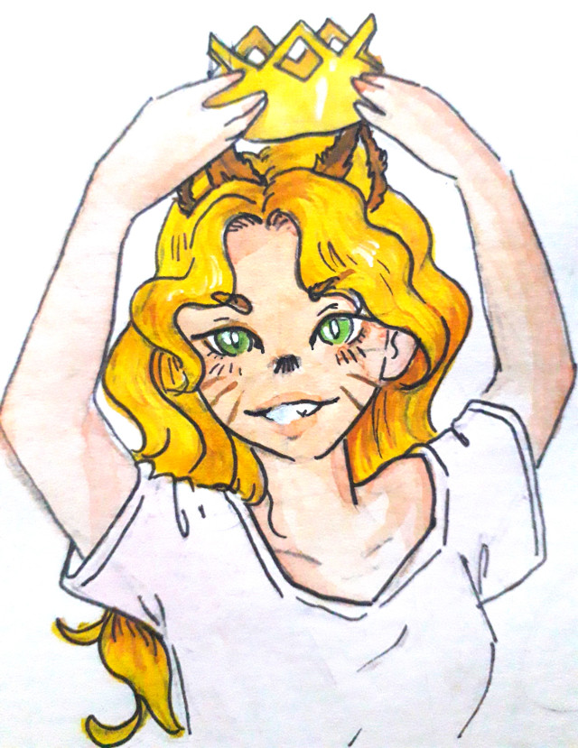 Leo just wakes up but she wants her crown -_-  ~~ #drawing #penart #pendrawing #girl #freetoedit #cute #zodiacs #zodiacsign #leo #lion #yellow #crown   ~~ @aspeisse