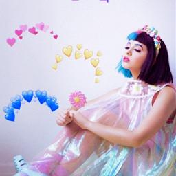 follow melanie melaniemartinez mel hearts image yellow yellowhearts pink pinkhearts blue bluehearts purple freetoedit