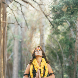 portrait portraitphotography meditation monk hindi prayer forest woods green sunset girl woman sun flowers inspiration harmony
