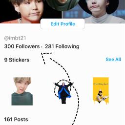 bts ty tysm army 300followers 300 followers follow thankyou imbt21 kpop fan fanaccount account hobi yoongi rm jin jimin v jk bt21 arrow art freetoedit
