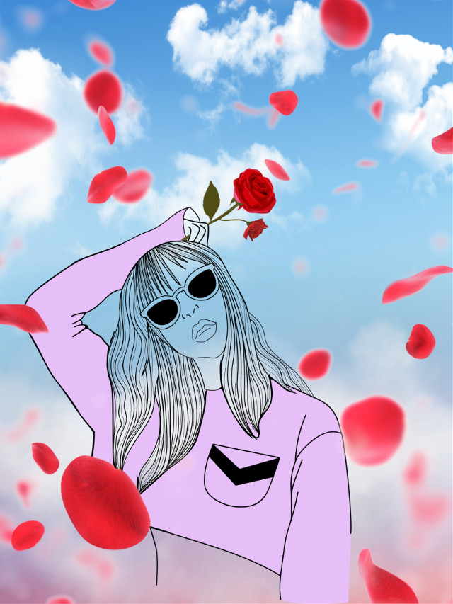 Hola 🙋♀️😘 #outline #freetoedit #myedit #madebyme #cloud #cloudsandsky #araceliss #heypicsart #rose #picsartstickers #petals