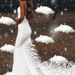 wedding weddingdress dress clouds glitter sparkle elegant whiteaesthetic angel freetoedit