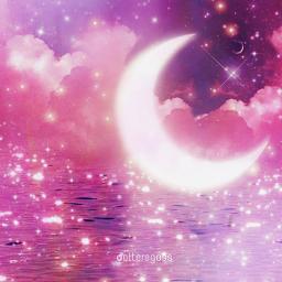 moon rose kawaii background water moonlight sparkle shine glow glowing pink pinkaesthetic freetoedit