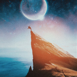 cliff falling sunshine sunset sun moon freetoedit