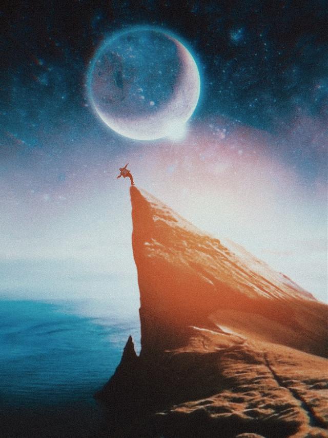 #cliff #falling #sunshine #sunset #sun #moon