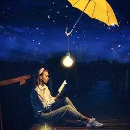 sky stars moon girl umbrella landscape freetoedit